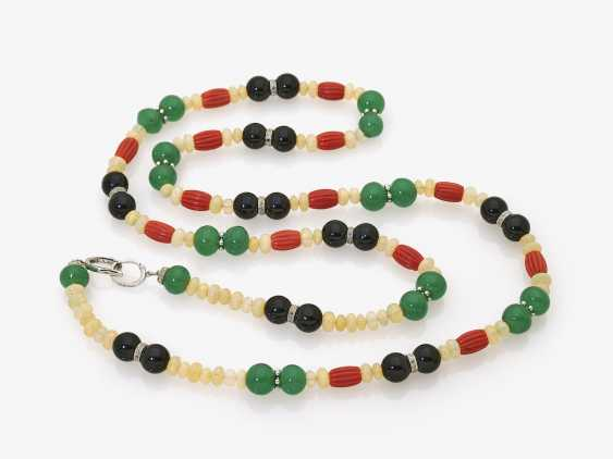 Chain with crystal-opals, coral, Onyx, and Chalcedony beads - photo 2