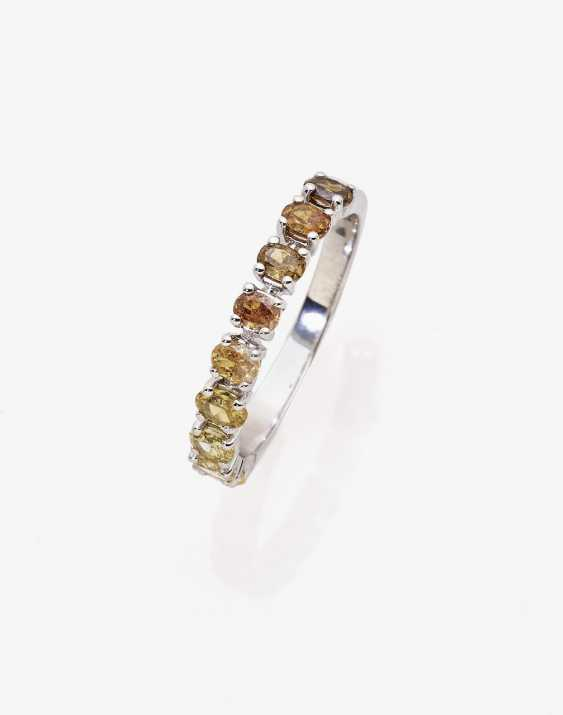 Alliance ring with natural Fancy diamonds in the gradient - photo 1
