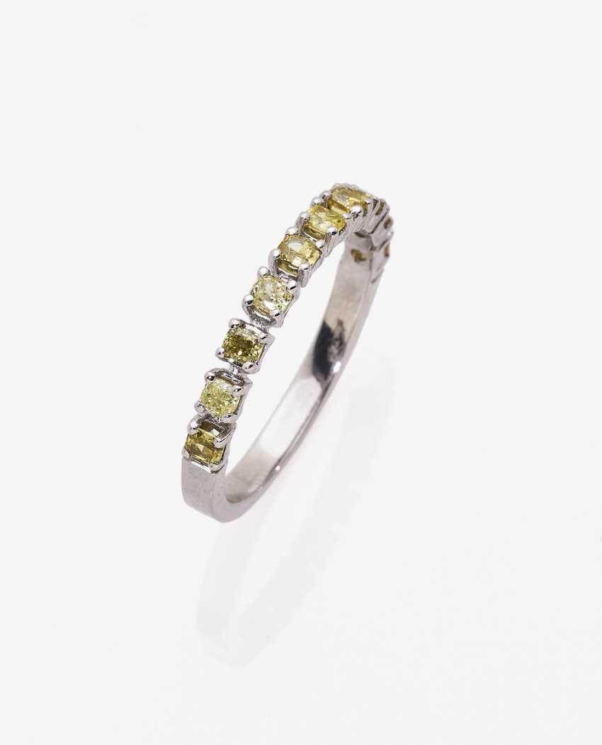 Alliance ring with natural colored diamonds in a Cushion Cut - photo 1