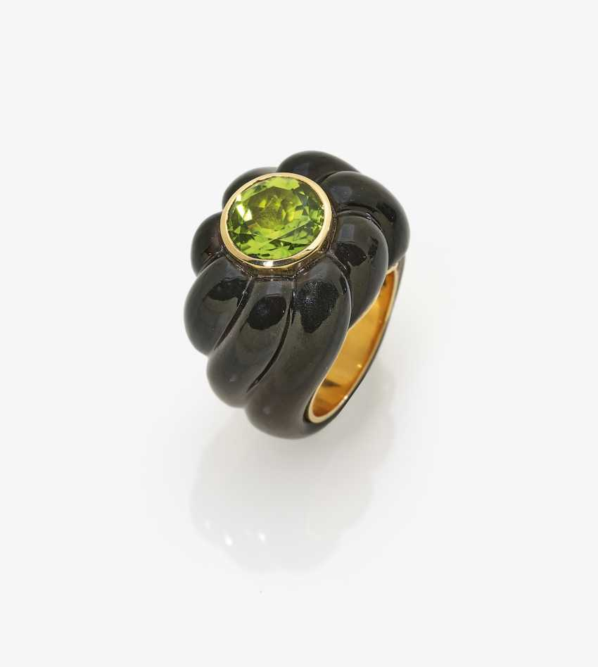 Smoky quartz fancy ring with Peridot - photo 1