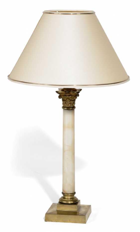 TABLE LAMP, ALABASTER PILLAR, - photo 1