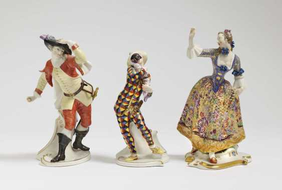 "Drei Figuren aus der Commedia dell' Arte ""Leda"", ""Captain Fear"" und ""Mezzetino"" - photo 1"