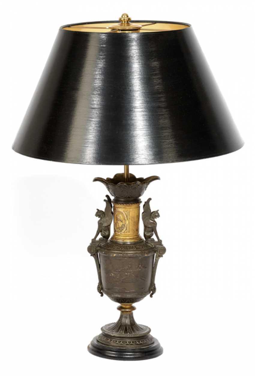 TABLE LAMP, ZINC CAST VASE FOOT - lot 7602