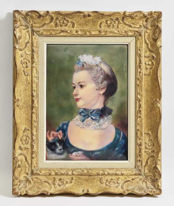 Portrait of Mademoiselle Huquier with cat - photo 1