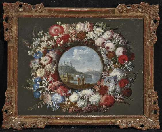 Wreath of flowers with a view of a southern coastal landscape - photo 2