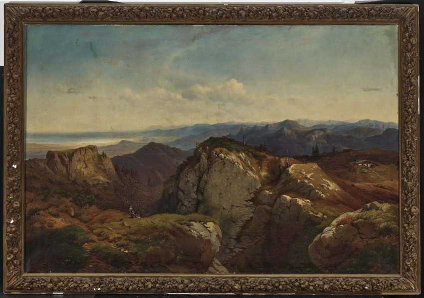 Mountain landscape with a painter and a fighter - photo 2