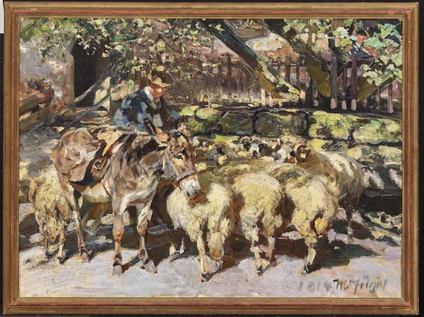 Shepherd with flock of sheep, and mule - photo 2