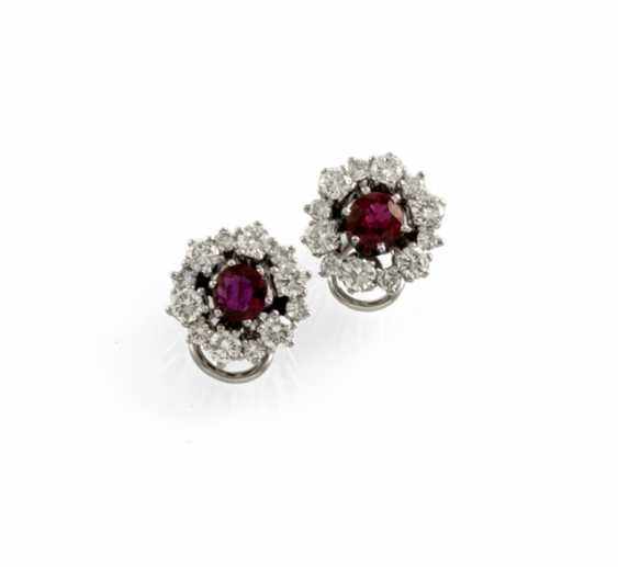 Pair Of Ruby And Diamond Ear Clips - photo 1