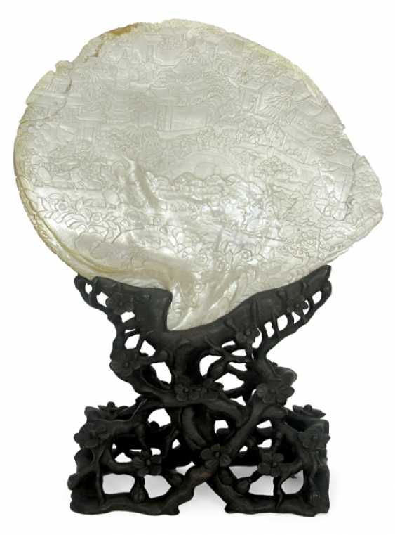 MOTHER OF PEARL SHELL ON WOOD STAND, - photo 1