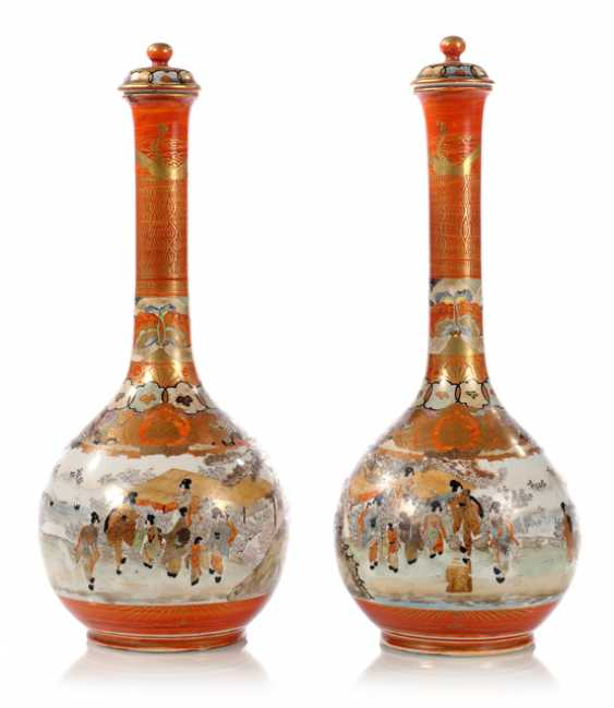 PAIR OF KUTANI VASES, SIGNED, - photo 1