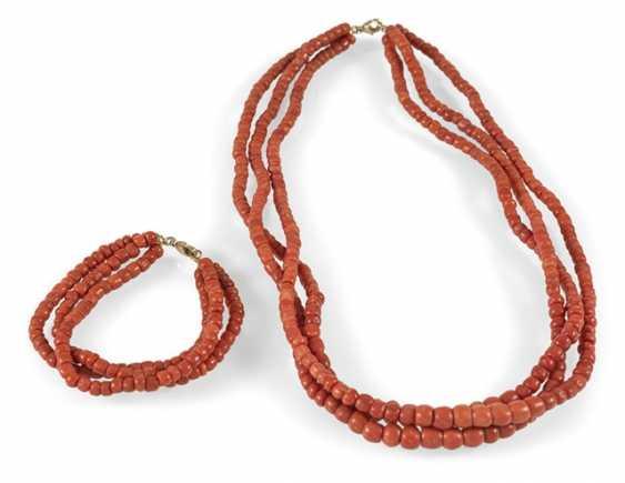 Necklace + Bracelet, 19./20. Century., - photo 1
