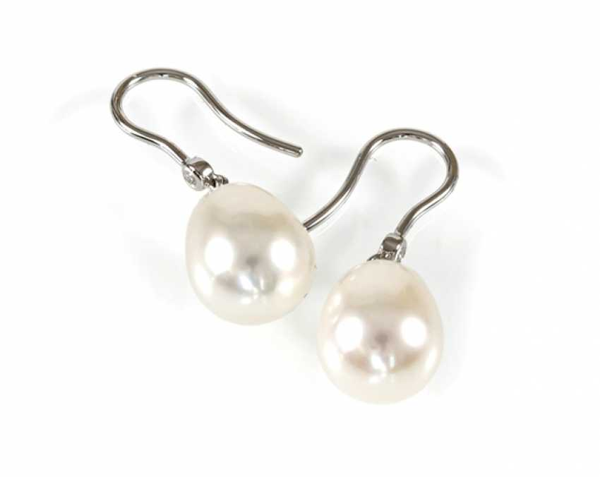 South Sea Cultured Pearl Earrings, - photo 1