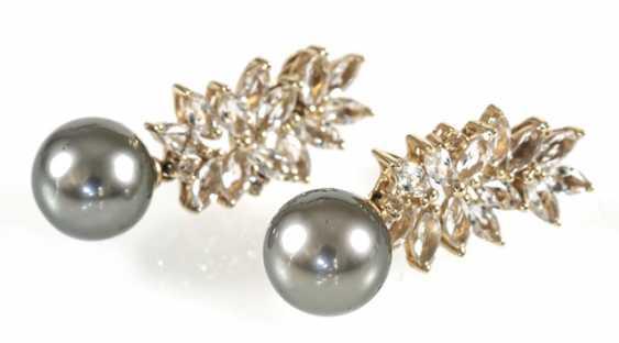 Pair Of Tahitian Cultured Pearl Earrings - photo 1