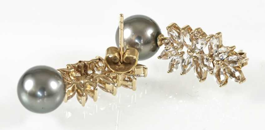Pair Of Tahitian Cultured Pearl Earrings - photo 2
