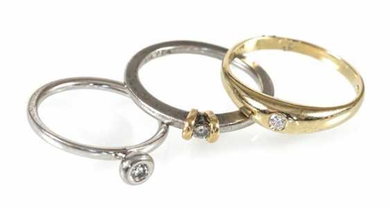 3 rings, 2Xpt/1X585Gg, diamond - photo 1