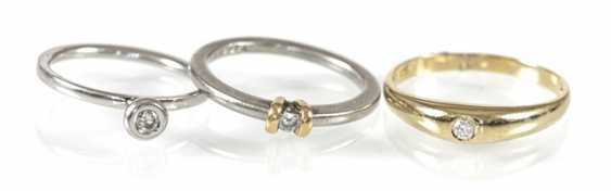 3 rings, 2Xpt/1X585Gg, diamond - photo 2