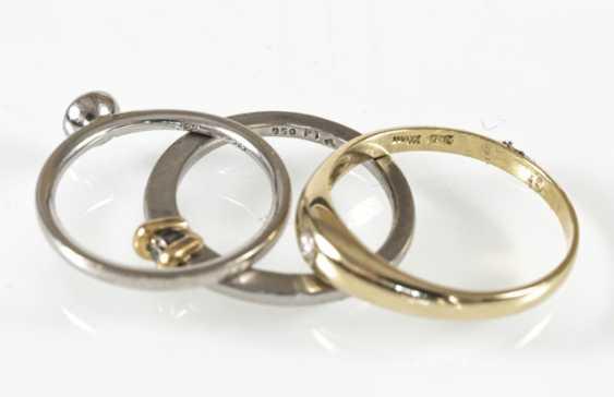 3 rings, 2Xpt/1X585Gg, diamond - photo 3