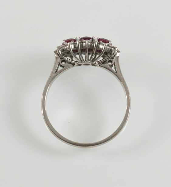 Rubin-Diamant-Ring, 750Wg, - photo 2