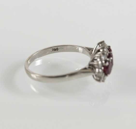 Rubin-Diamant-Ring, 750Wg, - photo 3