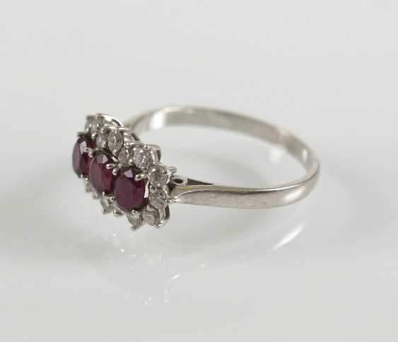 Rubin-Diamant-Ring, 750Wg, - photo 4