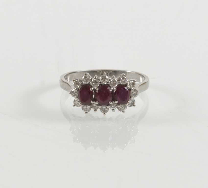 Rubin-Diamant-Ring, 750Wg, - photo 5