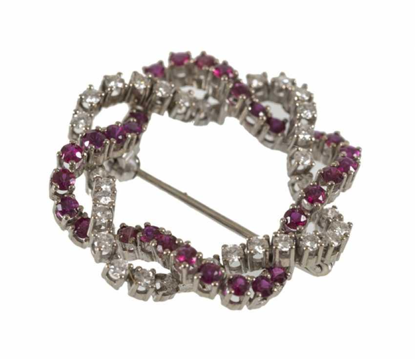 Rubin-Diamant-Brosche, 750Wg, - Foto 1