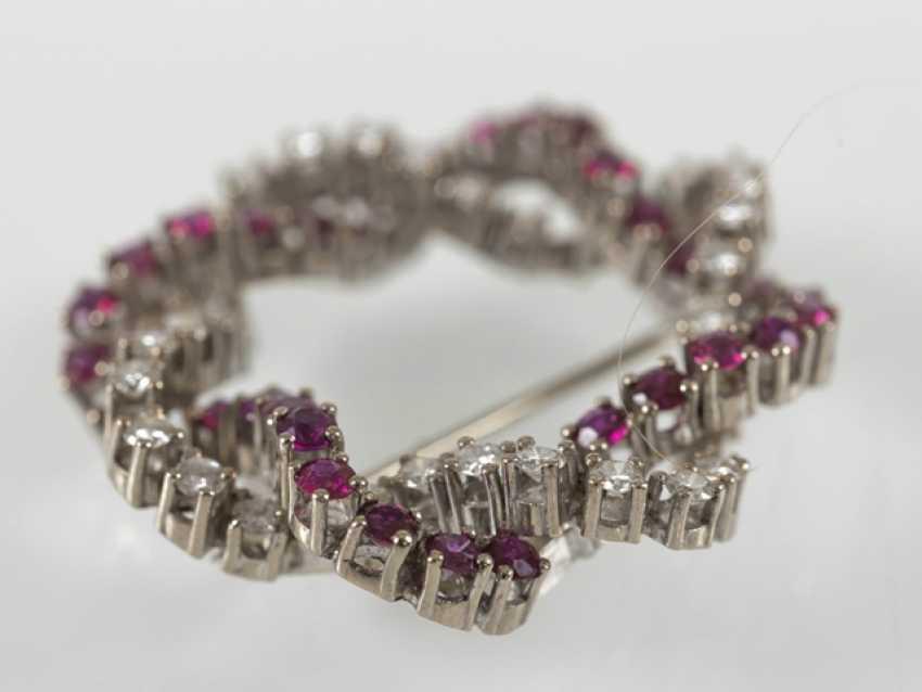 Rubin-Diamant-Brosche, 750Wg, - Foto 2