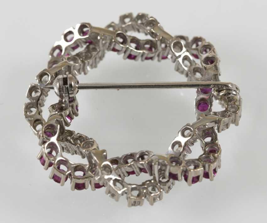 Rubin-Diamant-Brosche, 750Wg, - Foto 3