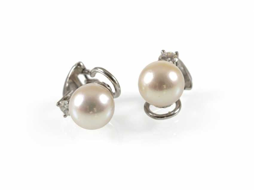 Pair Of Pearl And Diamond Clip Earrings, - photo 1
