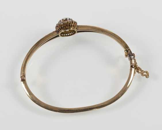 Opal and diamond bangle bracelet, 14Kt Gg, - photo 3