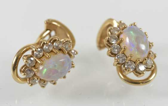 Opal and diamond clip earrings, 750Gg, - photo 2
