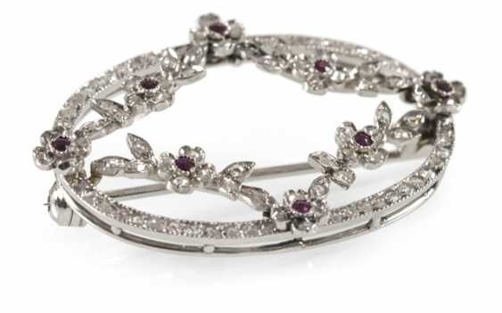 Ruby-Diamond-Brooch-White - photo 1