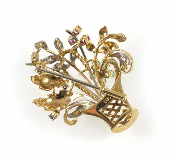 Flower Basket Brooch, 750 Gg/Wg, - photo 3