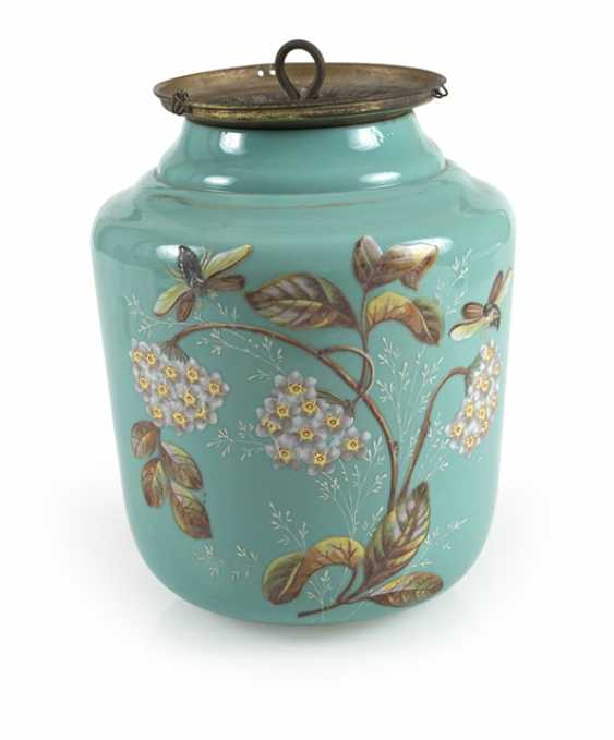 Lamp With Floral Decoration, Turquoise - photo 1