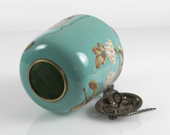 Lamp With Floral Decoration, Turquoise - photo 3