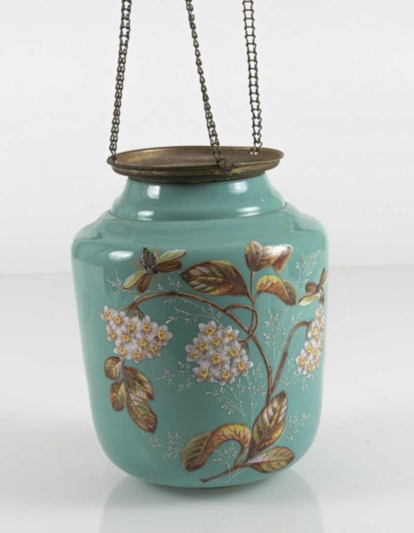 Lamp With Floral Decoration, Turquoise - photo 4
