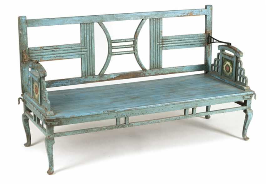 Garden Bench, Wood, Painted Blue - photo 1
