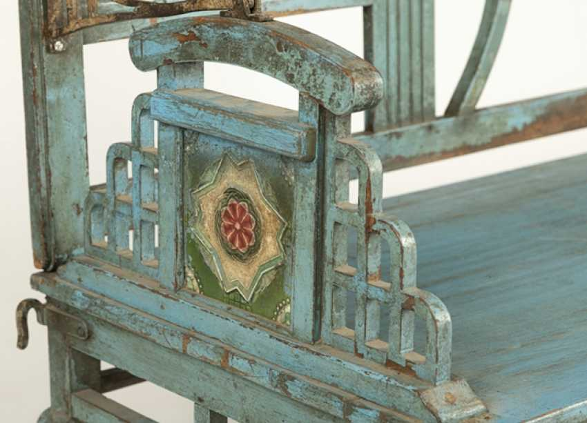Garden Bench, Wood, Painted Blue - photo 2