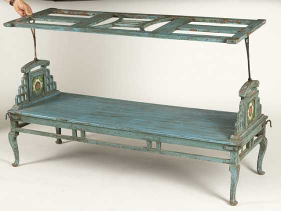 Garden Bench, Wood, Painted Blue - photo 3