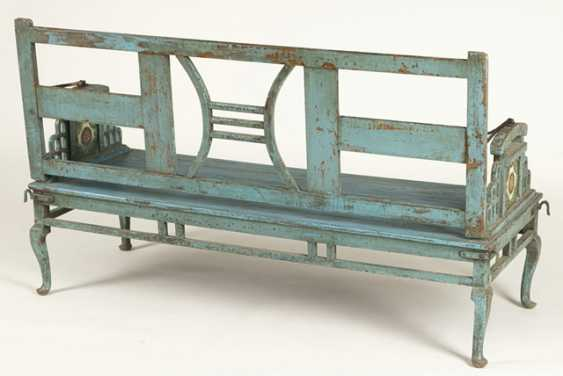Garden Bench, Wood, Painted Blue - photo 4