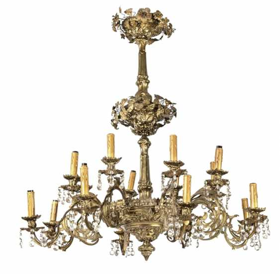 Large Ceiling Chandelier, Brass - photo 1