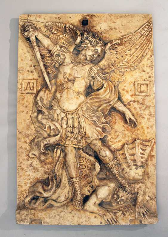 Large stone plate with relief of St. Michael fighting the devil - photo 1