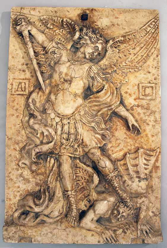 Large stone plate with relief of St. Michael fighting the devil - photo 2