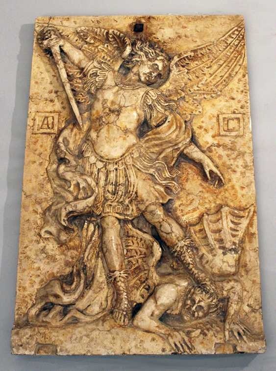 Large stone plate with relief of St. Michael fighting the devil - photo 3