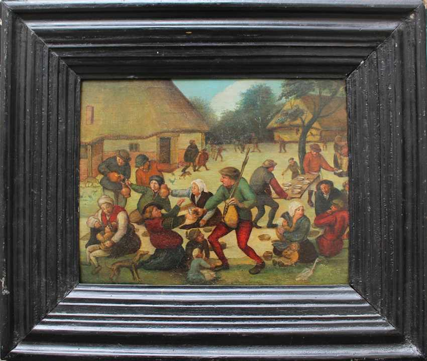 Pieter Brueghel the Younger (1564-1638)-school, Farmers feasting by a village with children and animals - photo 1