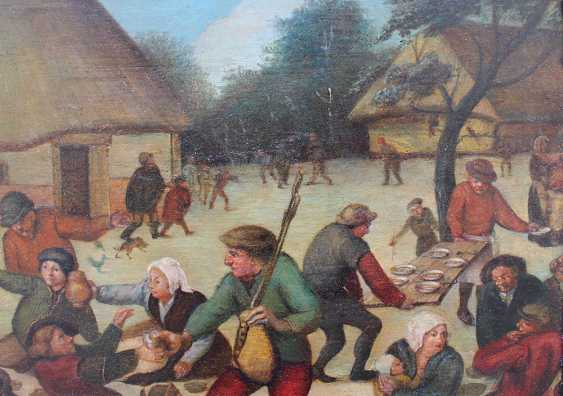 Pieter Brueghel the Younger (1564-1638)-school, Farmers feasting by a village with children and animals - photo 2