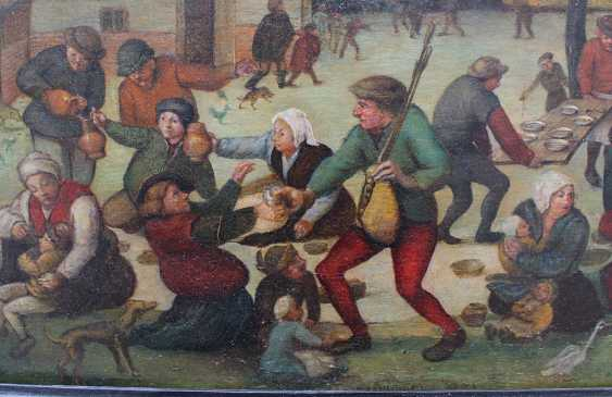 Pieter Brueghel the Younger (1564-1638)-school, Farmers feasting by a village with children and animals - photo 3