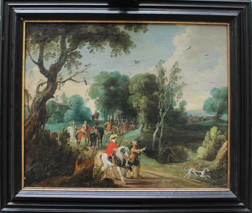 Sebastian Vrancx (1573-1647)-attributed, Soldiers and hunters on a path in landscape with dog and birds - photo 1