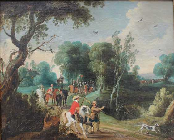 Sebastian Vrancx (1573-1647)-attributed, Soldiers and hunters on a path in landscape with dog and birds - photo 2
