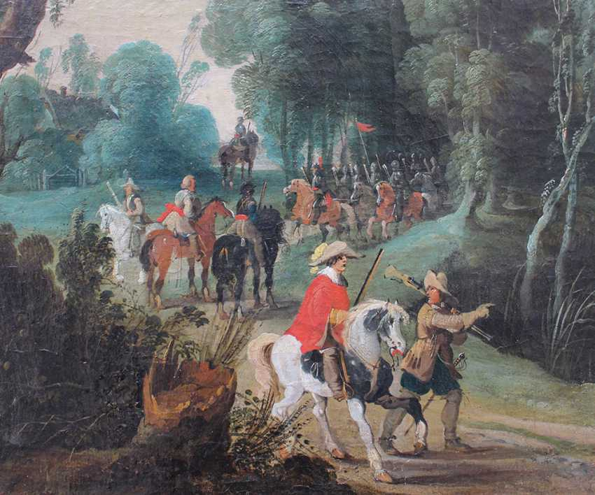Sebastian Vrancx (1573-1647)-attributed, Soldiers and hunters on a path in landscape with dog and birds - photo 3